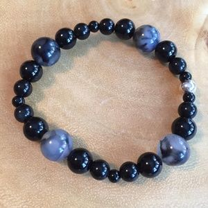 Jewelry - Agate, Onyx and Sterling Stretch Bracelet